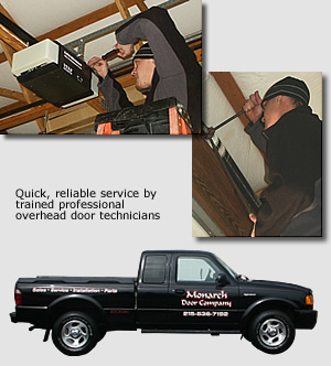 Quick, reliable service by trained professional overhead door technicians Monarch D Cpam 815-830-7192